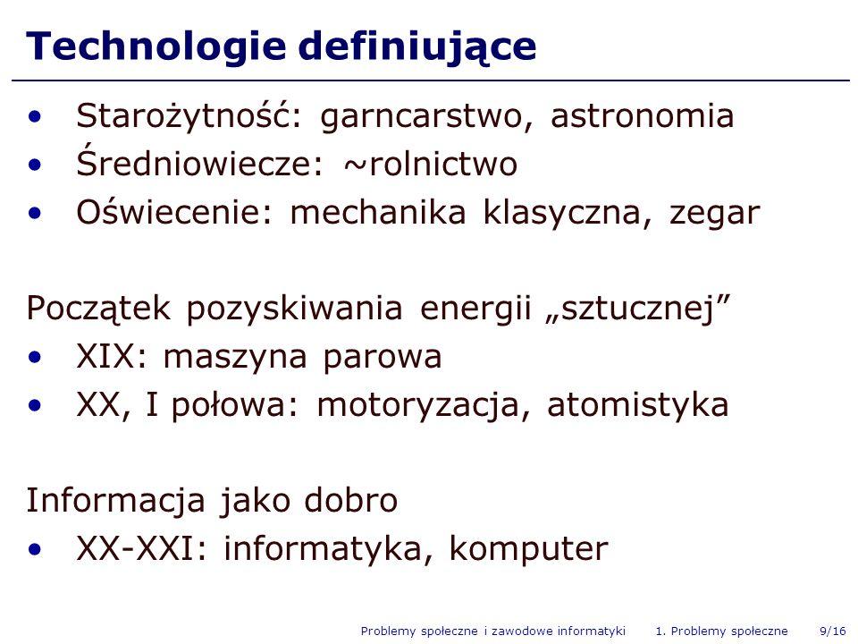 Problemy społeczne i zawodowe informatyki 1. Problemy społeczne 9/16 Technologie definiujące Starożytność: garncarstwo, astronomia Średniowiecze: ~rol