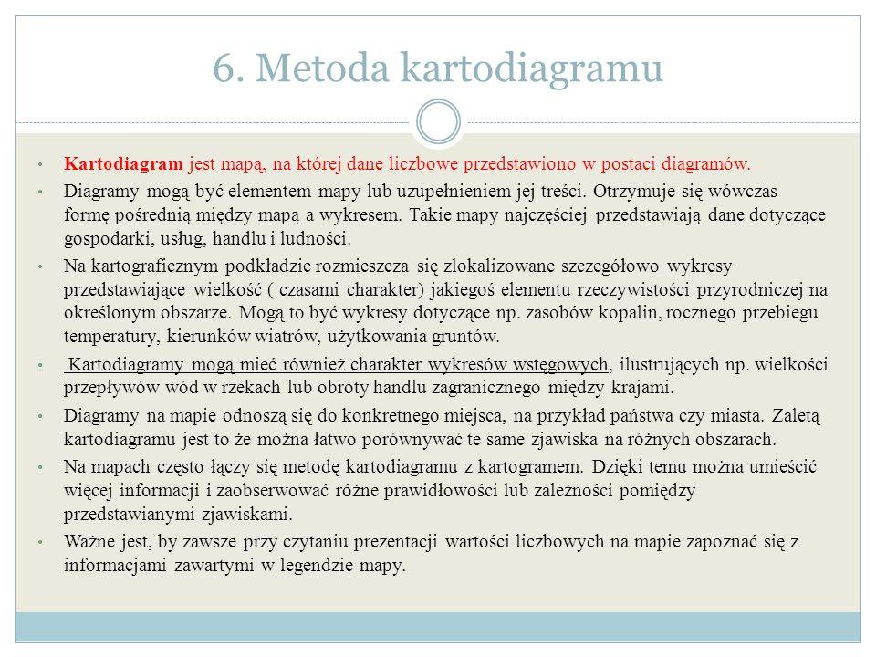 6. Metoda kartodiagramu Kartodiagram jest mapą, na której dane liczbowe przedstawiono w postaci diagramów. Diagramy mogą być elementem mapy lub uzupeł