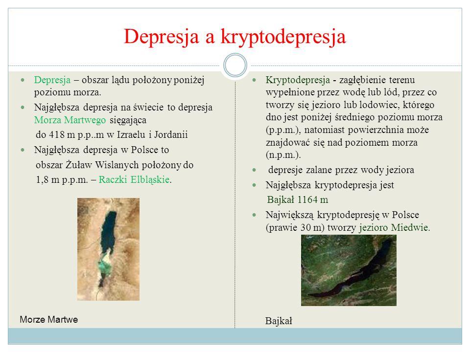 Depresja a kryptodepresja Depresja – obszar lądu położony poniżej poziomu morza. Najgłębsza depresja na świecie to depresja Morza Martwego sięgająca d