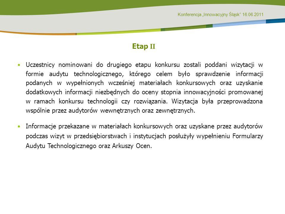 Konferencja Innowacyjny Śląsk 16.06.2011 Etap II Uczestnicy nominowani do drugiego etapu konkursu zostali poddani wizytacji w formie audytu technologi