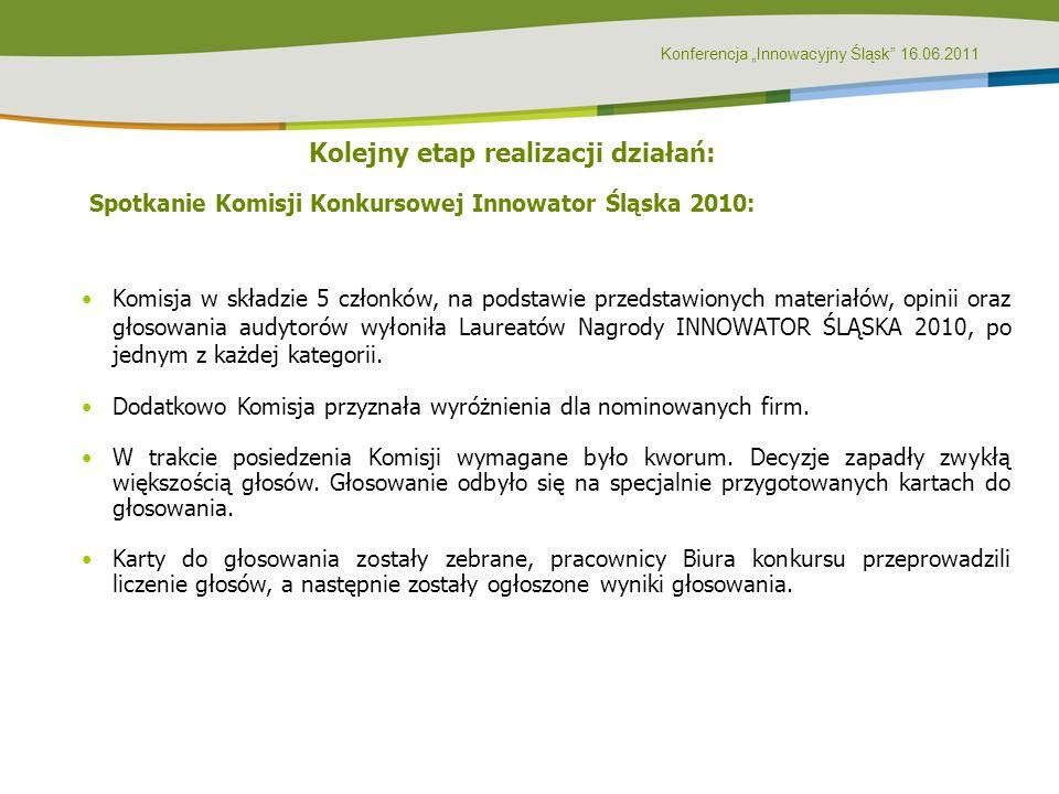 Konferencja Innowacyjny Śląsk 16.06.2011 Kolejny etap realizacji działań: Spotkanie Komisji Konkursowej Innowator Śląska 2010: Komisja w składzie 5 cz