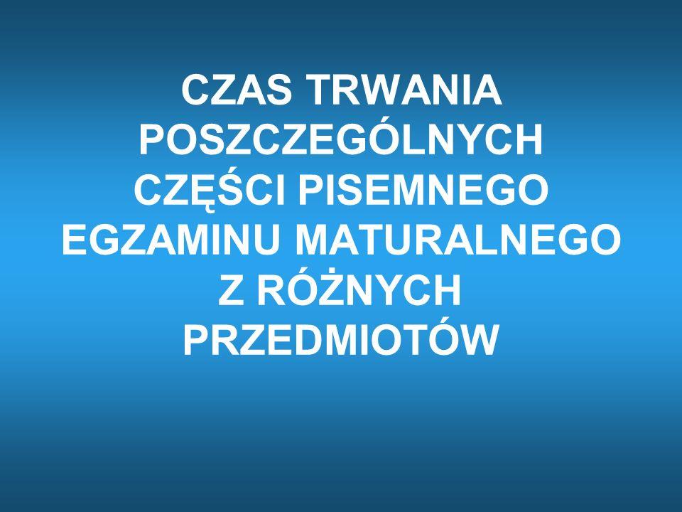PRZEDMIOTYARKUSZE CZAS TRWANIA GODZINY rozpoczęcia język polski matematyka PP170 min 9.00 PR180 min 9.00 języki obce nowożytne PP120 min 9.00 PR (część I) 120 min 14.00 PR (część II) 70 min 16.30 – 17.40