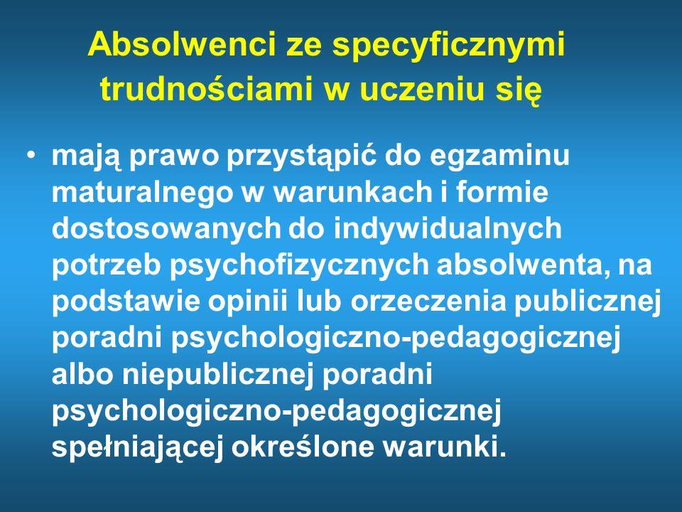 Informacja dotycząca opinii z PPP Dokumentem uprawniającym uczniów/słuchaczy/absolwentów do przystąpienia do sprawdzianu i egzaminu zewnętrznego w warunkach dostosowanych do ich indywidualnych potrzeb psychofizycznych i edukacyjnych jest każda opinia wydana przez poradnię psychologiczno-pedagogiczną, w tym poradnię specjalistyczną, z której wynika, że u ucznia rozpoznano specyficzne trudności w uczeniu się.