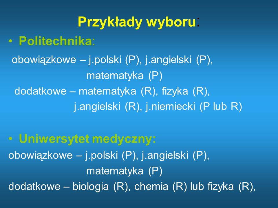 SGH: obowiązkowe – j.polski (P), j.angielski (P), matematyka (P) dodatkowe – matematyka (R), geografia (R), j.angielski (R), j.niemiecki (P lub R) Wydział Prawa: obowiązkowe – j.polski (P), j.angielski (P), matematyka (P) dodatkowe – historia (R), WOS (R), j.angielski (R), j.niemiecki (P lub R)