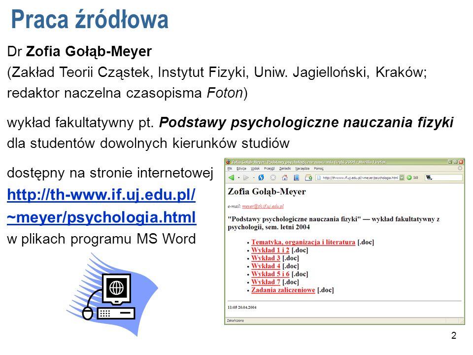 2 Praca źródłowa Dr Zofia Gołąb-Meyer (Zakład Teorii Cząstek, Instytut Fizyki, Uniw.