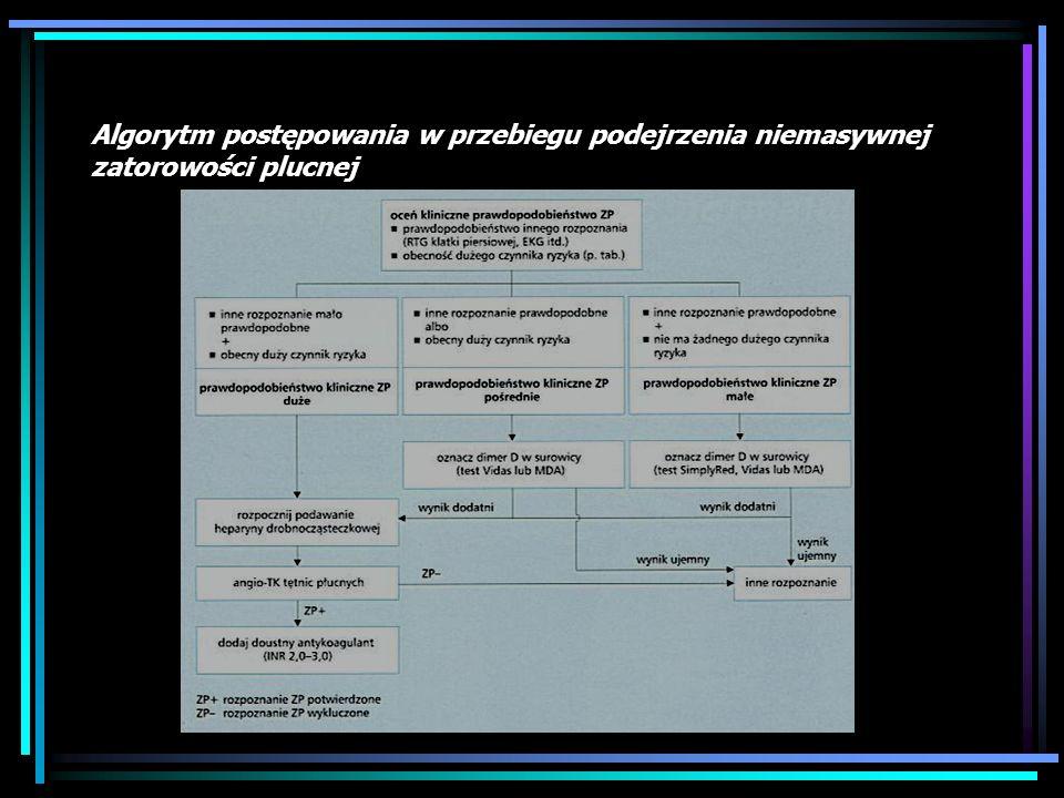 8. Rozpoznanie: D-dimer Czułość tego badania zależy od rodzaju testu. D – dimer wykazuje wysoką (do 100%) NPV w przypadku istnienia małych i średnich
