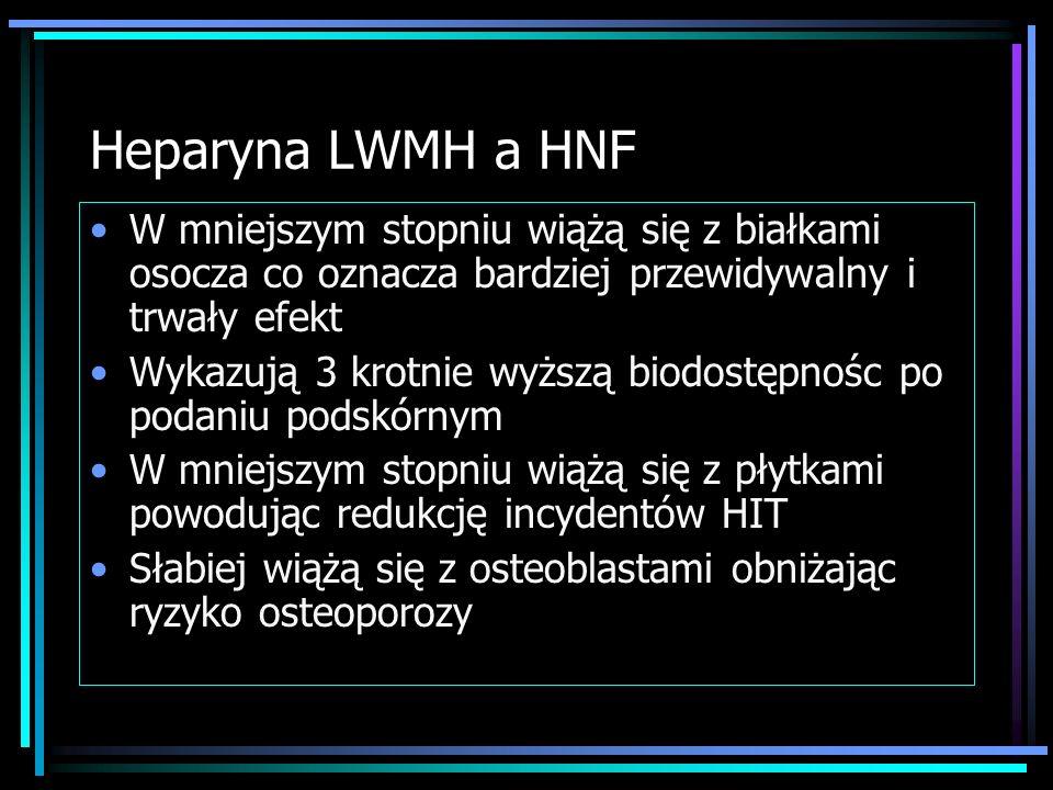 Leczenie postaci niemasywnej Leczenie przeciwkrzepliwe: Heparyna niefrakcjonowana HNF – 1. bolus 80j/kg mc. 2. wlew średnio 18j/kg mc./h średnnio 30 t