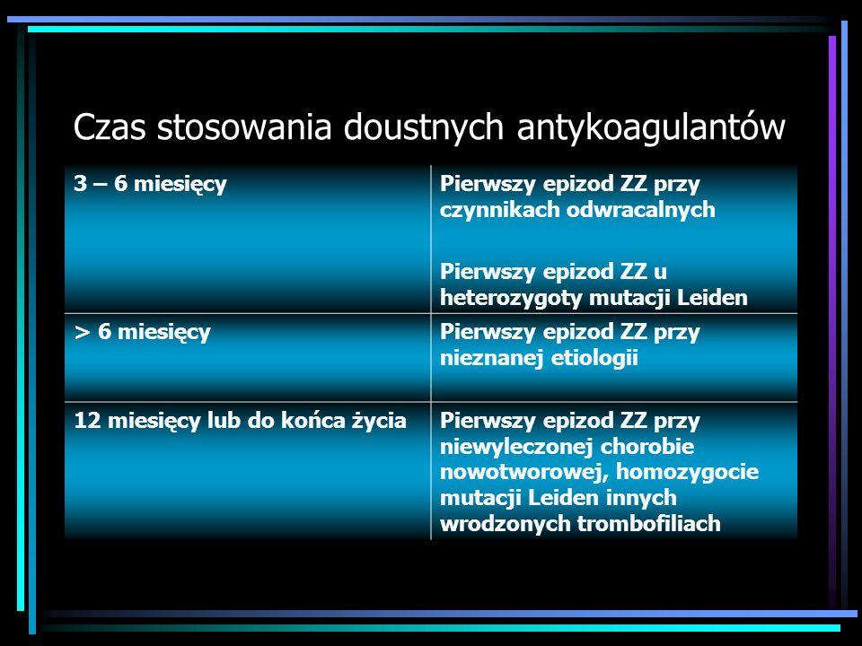 Leczenie przewlekłe Doustne antykoagulanty Acenokumarol - od 2 doby stosowania leków przeciwkrzepliwych - kontynuować do wartości INR 2-3 - zakończyć
