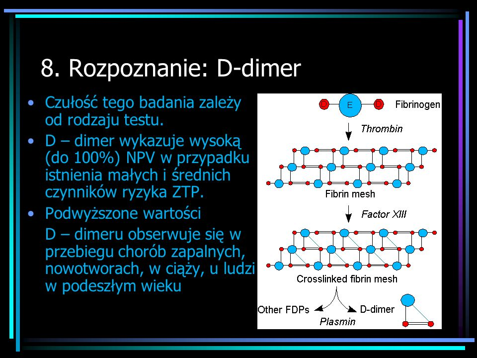 8.Rozpoznanie: D-dimer Czułość tego badania zależy od rodzaju testu.