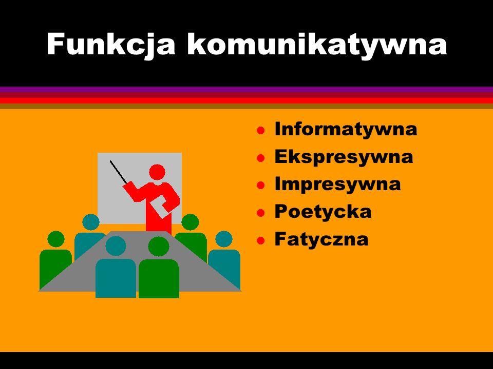 Funkcja komunikatywna l Informatywna l Ekspresywna l Impresywna l Poetycka l Fatyczna