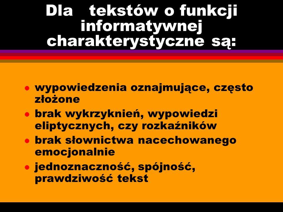 Dla tekstów o funkcji informatywnej charakterystyczne są: l wypowiedzenia oznajmujące, często złożone l brak wykrzyknień, wypowiedzi eliptycznych, czy