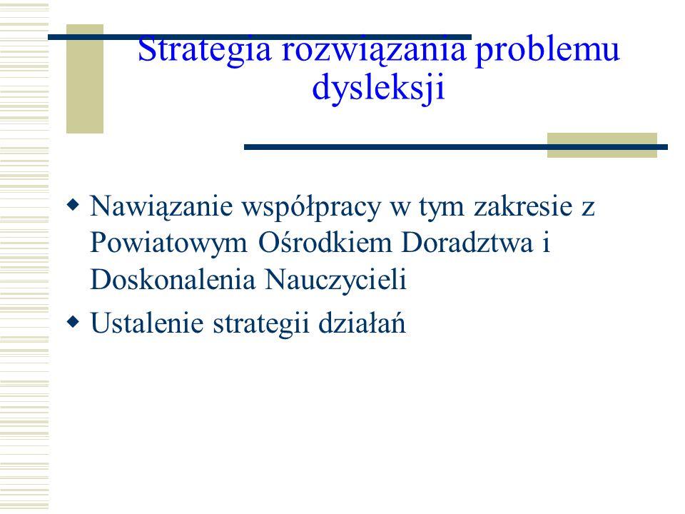 Strategia rozwiązania problemu dysleksji Nawiązanie współpracy w tym zakresie z Powiatowym Ośrodkiem Doradztwa i Doskonalenia Nauczycieli Ustalenie st