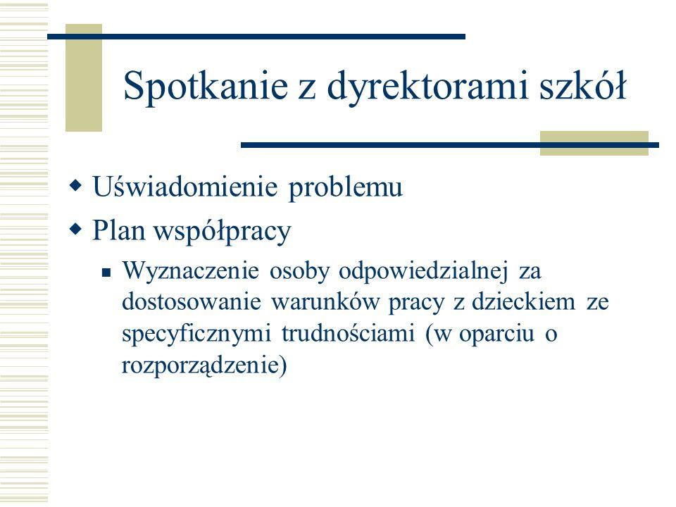 Spotkanie z dyrektorami szkół Uświadomienie problemu Plan współpracy Wyznaczenie osoby odpowiedzialnej za dostosowanie warunków pracy z dzieckiem ze s