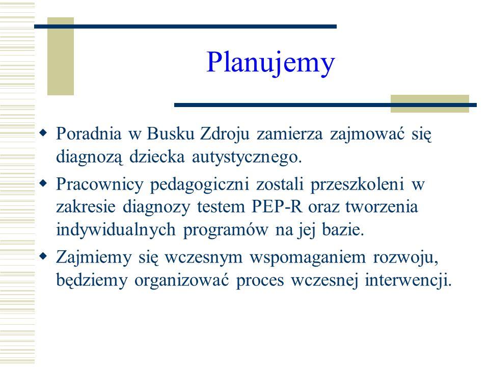 Planujemy Poradnia w Busku Zdroju zamierza zajmować się diagnozą dziecka autystycznego. Pracownicy pedagogiczni zostali przeszkoleni w zakresie diagno