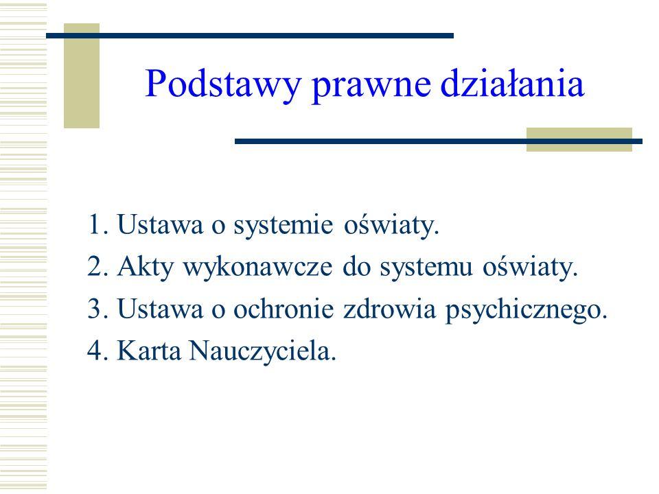 Podstawy prawne działania 1. Ustawa o systemie oświaty. 2. Akty wykonawcze do systemu oświaty. 3. Ustawa o ochronie zdrowia psychicznego. 4. Karta Nau