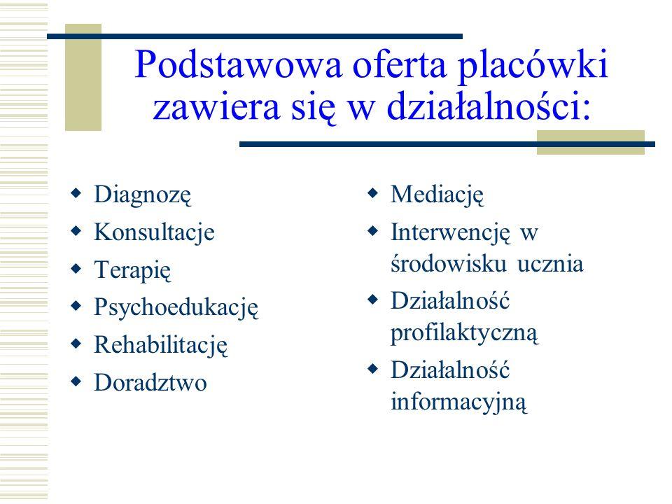 Podstawowa oferta placówki zawiera się w działalności: Diagnozę Konsultacje Terapię Psychoedukację Rehabilitację Doradztwo Mediację Interwencję w środ