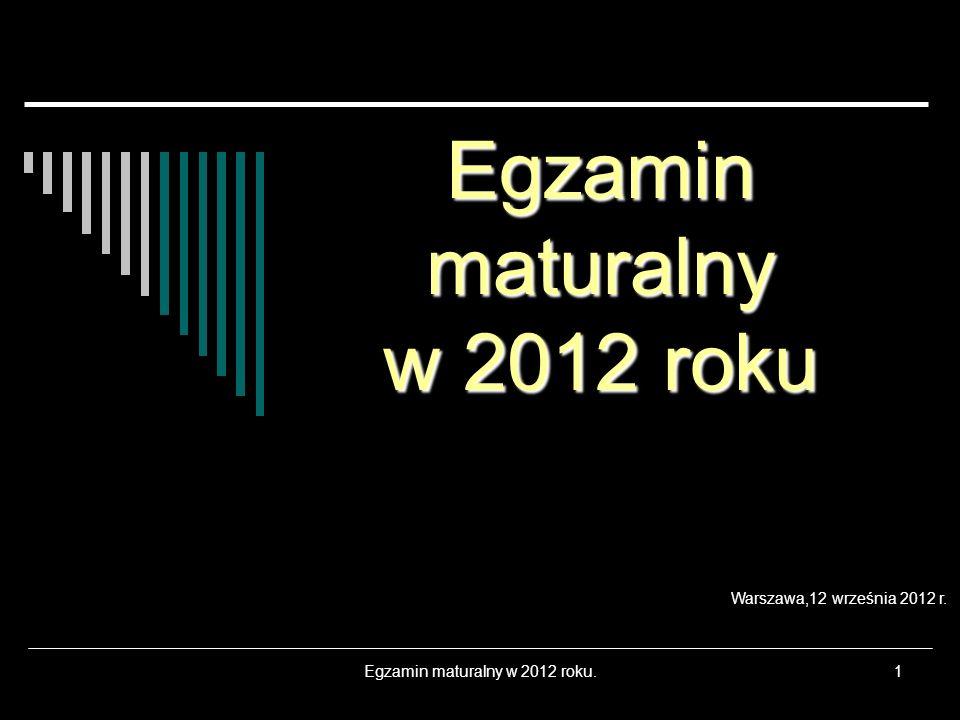 Egzamin maturalny w 2012 roku.1 Egzamin maturalny w 2012 roku Warszawa,12 września 2012 r.