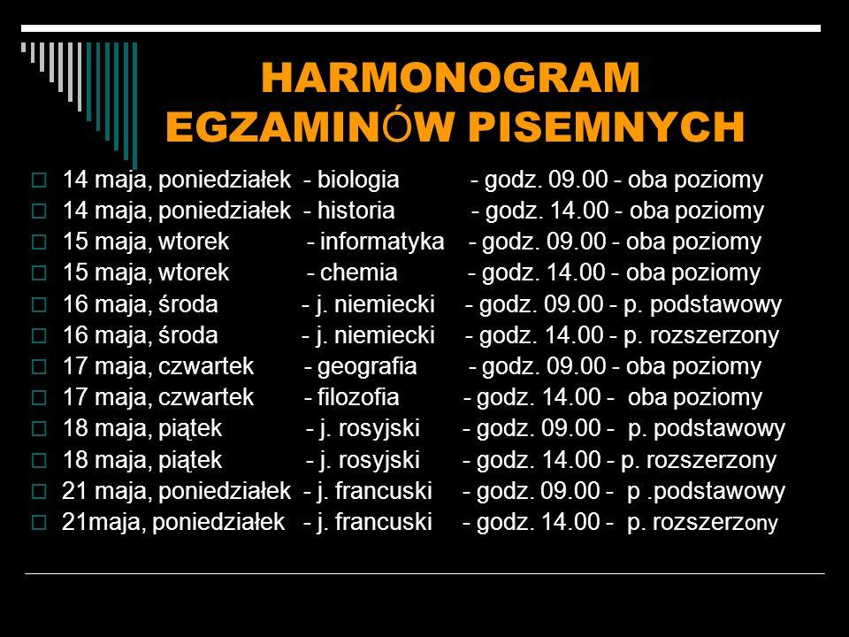 HARMONOGRAM EGZAMIN Ó W PISEMNYCH 14 maja, poniedziałek - biologia - godz.
