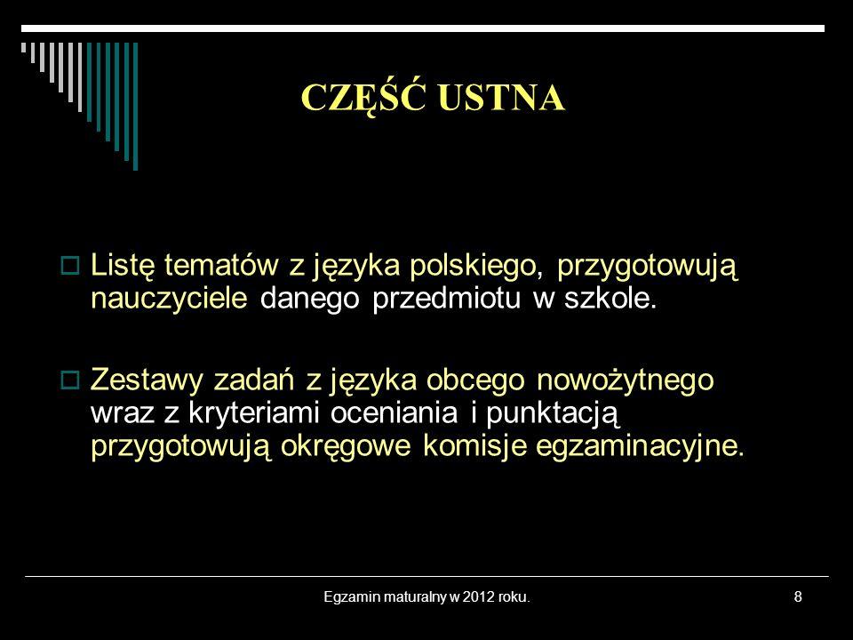 Egzamin maturalny w 2012 roku.8 Listę tematów z języka polskiego, przygotowują nauczyciele danego przedmiotu w szkole.