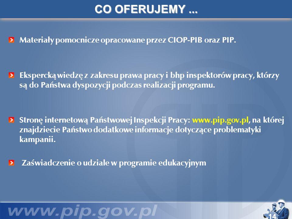 14 CO OFERUJEMY... Materiały pomocnicze opracowane przez CIOP-PIB oraz PIP. Ekspercką wiedzę z zakresu prawa pracy i bhp inspektorów pracy, którzy są