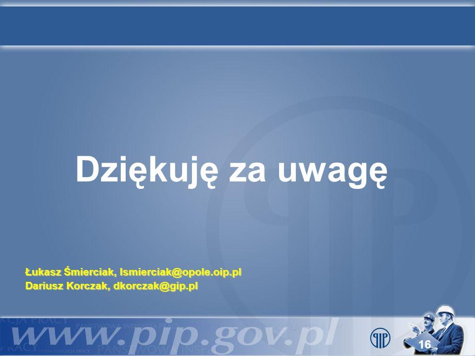 16 Dziękuję za uwagę Łukasz Śmierciak, lsmierciak@opole.oip.pl Dariusz Korczak, dkorczak@gip.pl