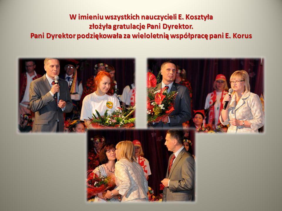 W imieniu wszystkich nauczycieli E. Kosztyła złożyła gratulacje Pani Dyrektor. Pani Dyrektor podziękowała za wieloletnią współpracę pani E. Korus