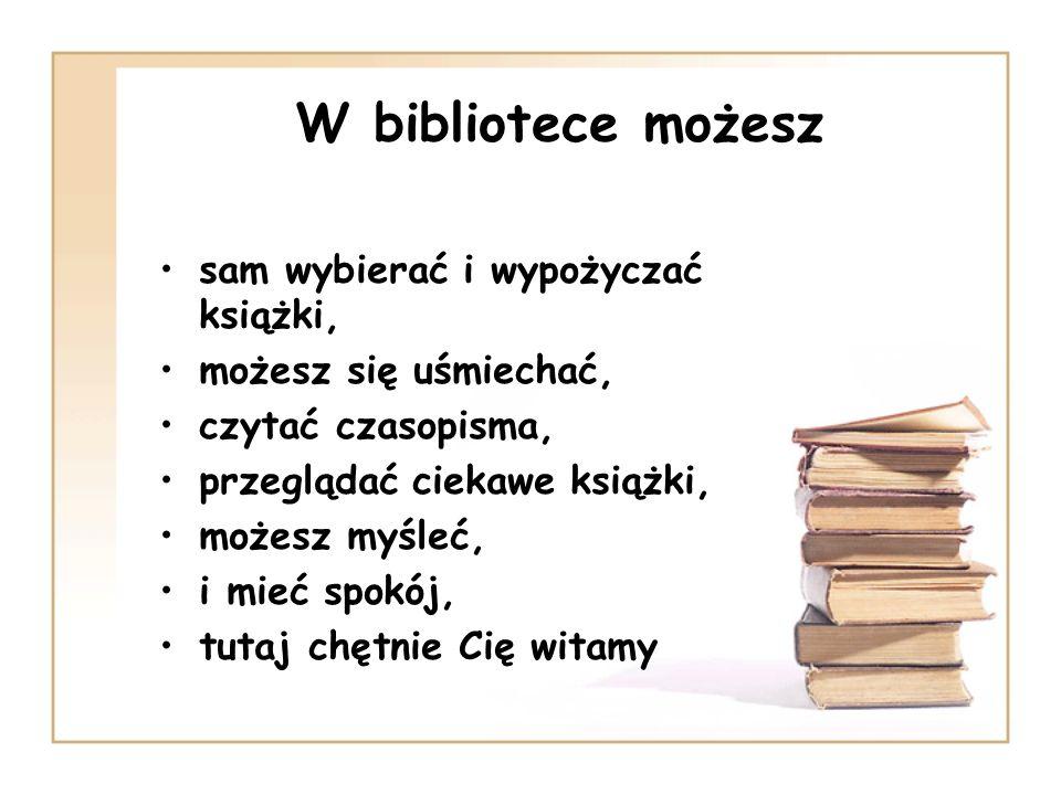 Udostępnianie zbiorów Zbiory są udostępniane w wypożyczalni oraz w czytelni, W wypożyczalni uczniowie mają wolny dostęp do półek, to znaczy, że mogą sami wybierać książki, W czytelni zbiory biblioteki udostępniane są na miejscu oraz na lekcje nauczycielom, W czytelni możemy skorzystać z encyklopedii, słowników, leksykonów, przewodników, poradników, atlasów, a także z czasopism.