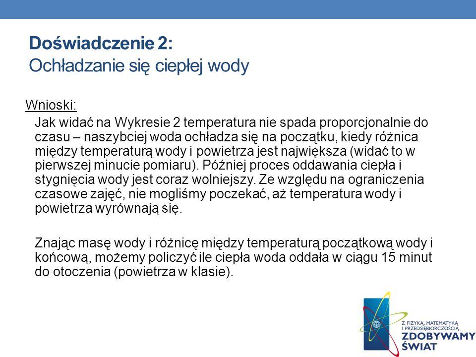 Doświadczenie 2: Ochładzanie się ciepłej wody Wnioski: Jak widać na Wykresie 2 temperatura nie spada proporcjonalnie do czasu – naszybciej woda ochład