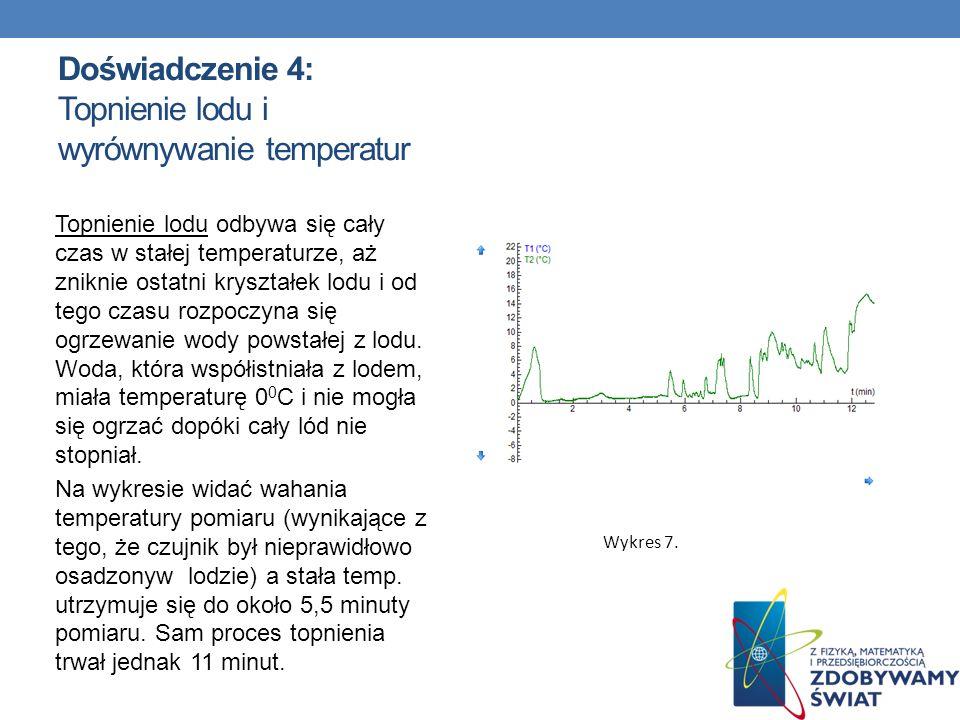 Doświadczenie 4: Topnienie lodu i wyrównywanie temperatur Topnienie lodu odbywa się cały czas w stałej temperaturze, aż zniknie ostatni kryształek lod
