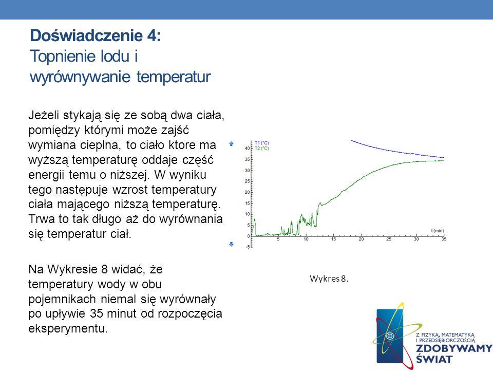 Doświadczenie 4: Topnienie lodu i wyrównywanie temperatur Jeżeli stykają się ze sobą dwa ciała, pomiędzy którymi może zajść wymiana cieplna, to ciało