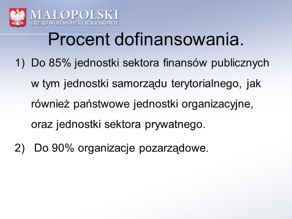 Procent dofinansowania. 1)Do 85% jednostki sektora finansów publicznych w tym jednostki samorządu terytorialnego, jak również państwowe jednostki orga