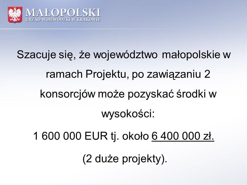 Szacuje się, że województwo małopolskie w ramach Projektu, po zawiązaniu 2 konsorcjów może pozyskać środki w wysokości: 1 600 000 EUR tj. około 6 400