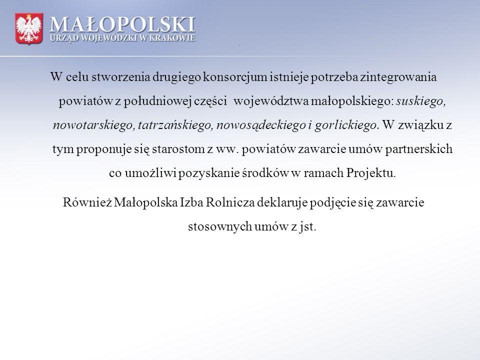 . W celu stworzenia drugiego konsorcjum istnieje potrzeba zintegrowania powiatów z południowej części województwa małopolskiego: suskiego, nowotarskie