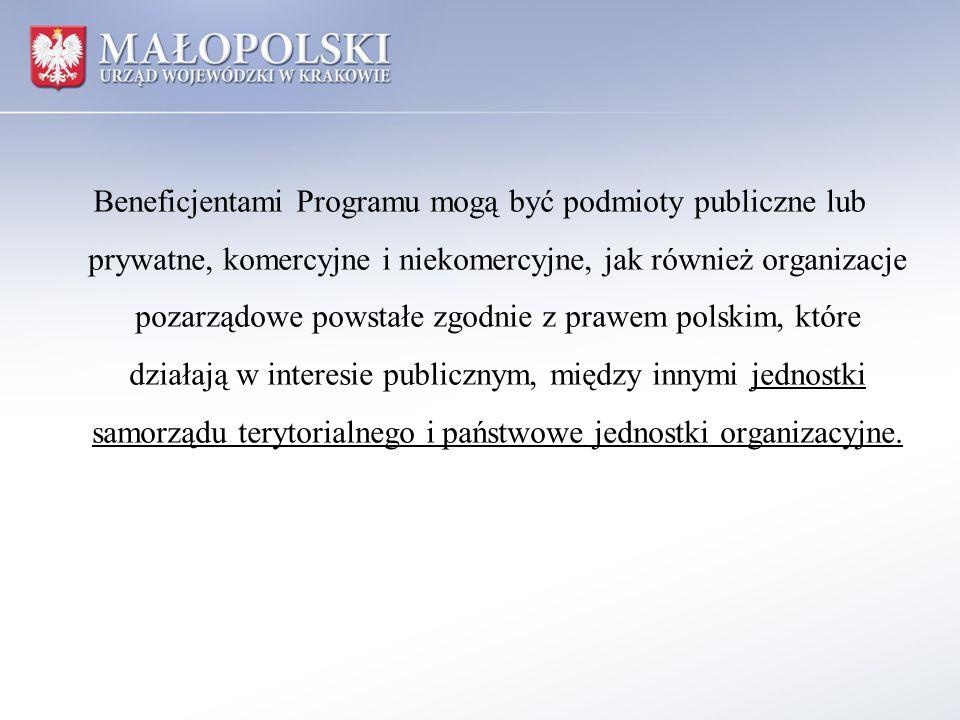 Beneficjentami Programu mogą być podmioty publiczne lub prywatne, komercyjne i niekomercyjne, jak również organizacje pozarządowe powstałe zgodnie z p