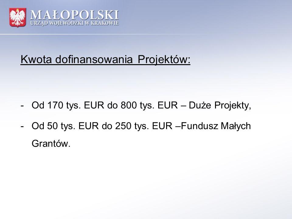 Kwota dofinansowania Projektów: -Od 170 tys. EUR do 800 tys. EUR – Duże Projekty, -Od 50 tys. EUR do 250 tys. EUR –Fundusz Małych Grantów.