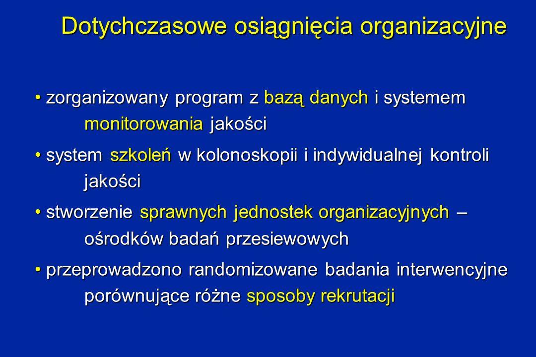 Dotychczasowe osiągnięcia organizacyjne zorganizowany program z bazą danych i systemem monitorowania jakości zorganizowany program z bazą danych i sys