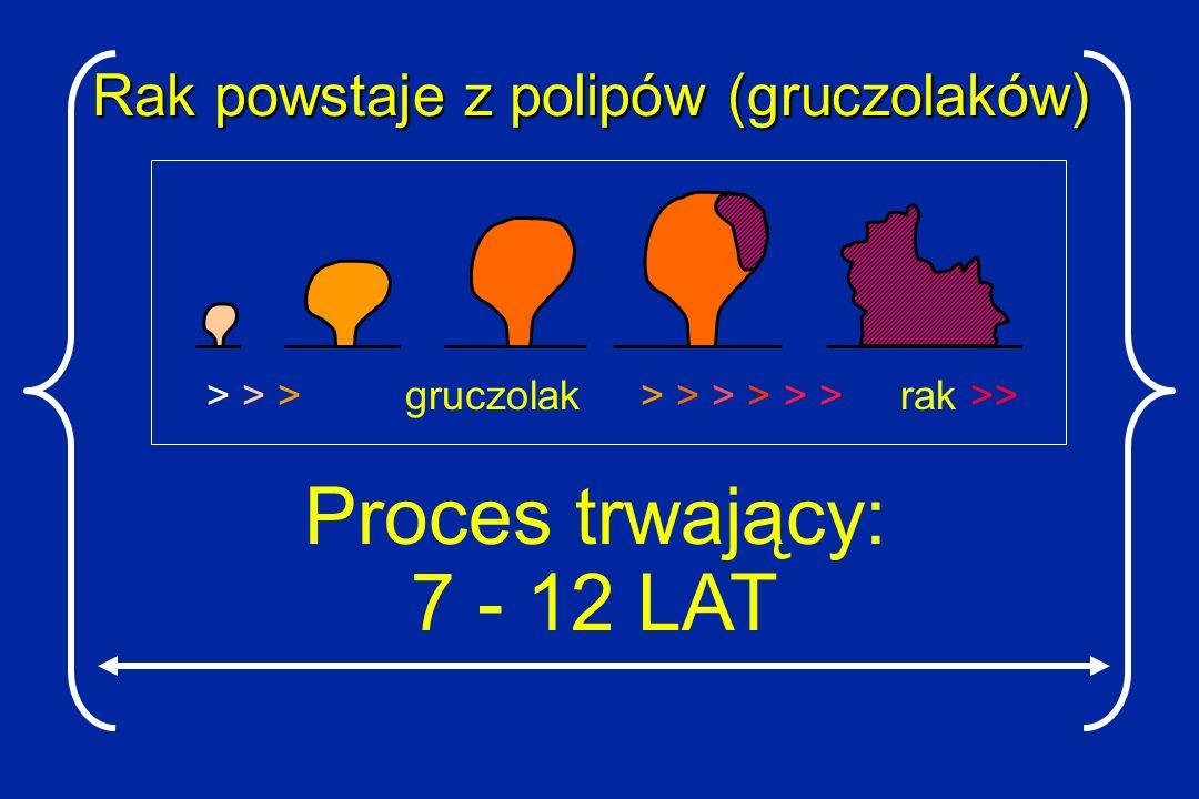 Rak powstaje z polipów (gruczolaków) > > > gruczolak > > > > > > rak >> Proces trwający: 7 - 12 LAT
