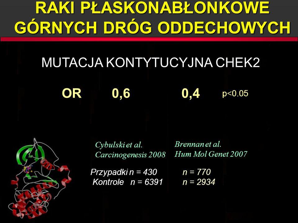 0,4 0,4 Cybulski et al. Carcinogenesis 2008 Cybulski et al. Carcinogenesis 2008 Brennan et al. Hum Mol Genet 2007 Brennan et al. Hum Mol Genet 2007 0,