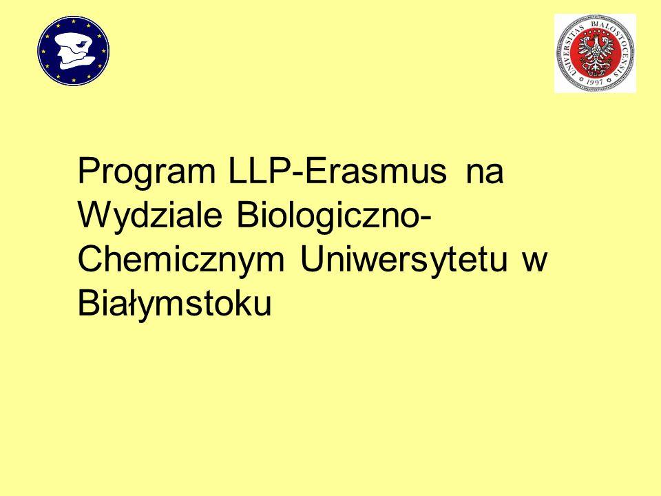 Wydział Biologiczno-Chemiczny włączył się w realizację programu LLP-Erasmus na Uniwersytecie w Białymstoku w roku 1997.