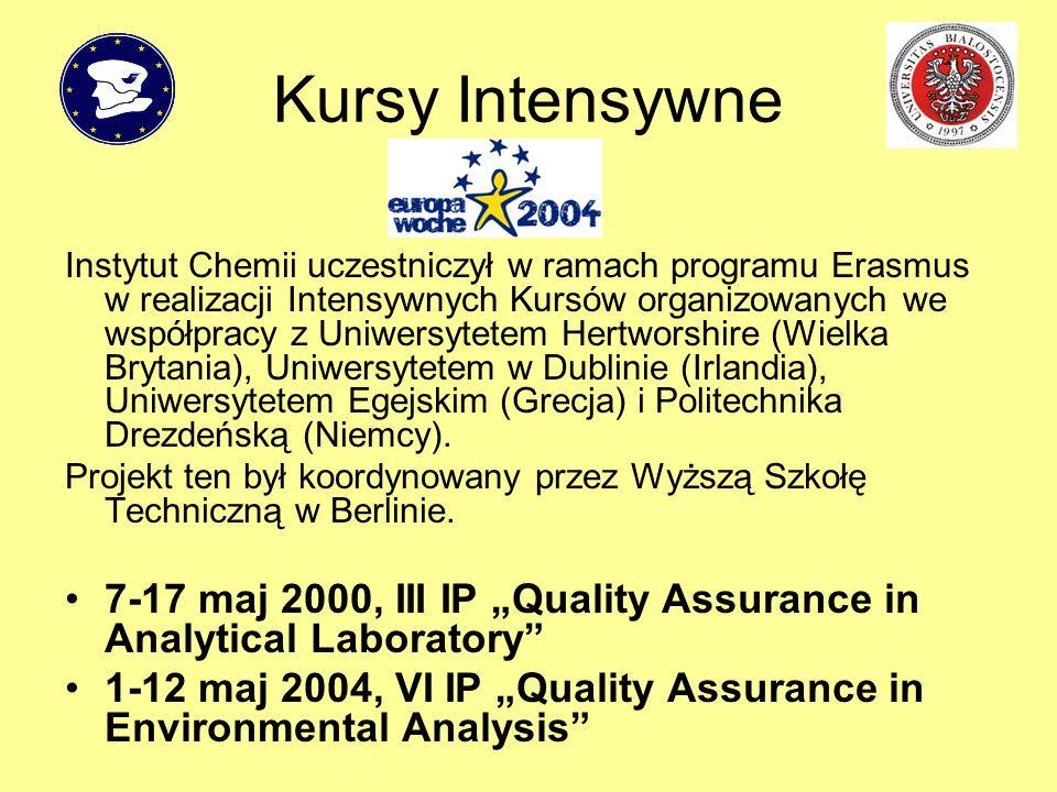 Kursy Intensywne Instytut Chemii uczestniczył w ramach programu Erasmus w realizacji Intensywnych Kursów organizowanych we współpracy z Uniwersytetem