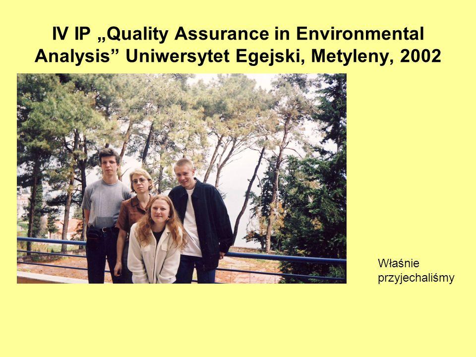 IV IP Quality Assurance in Environmental Analysis Uniwersytet Egejski, Metyleny, 2002 Właśnie przyjechaliśmy