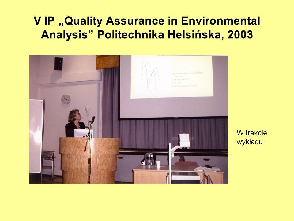 V IP Quality Assurance in Environmental Analysis Politechnika Helsińska, 2003 W trakcie wykładu