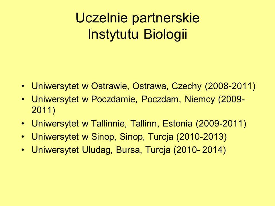 Uczelnie partnerskie Instytutu Biologii Uniwersytet w Ostrawie, Ostrawa, Czechy (2008-2011) Uniwersytet w Poczdamie, Poczdam, Niemcy (2009- 2011) Uniw