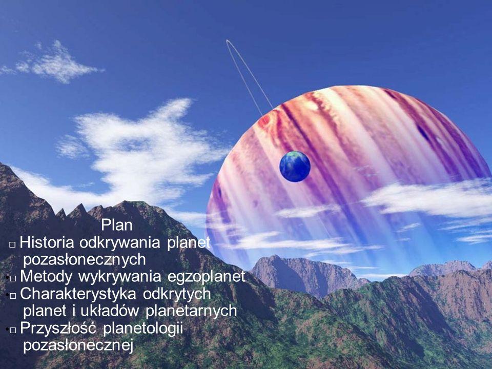 Plan Historia odkrywania planet pozasłonecznych Metody wykrywania egzoplanet Charakterystyka odkrytych planet i układów planetarnych Przyszłość planet