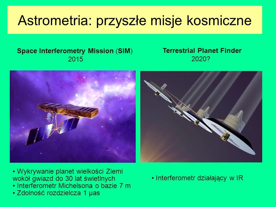 Astrometria: przyszłe misje kosmiczne Space Interferometry Mission (SIM) 2015 Terrestrial Planet Finder 2020? Wykrywanie planet wielkości Ziemi wokół