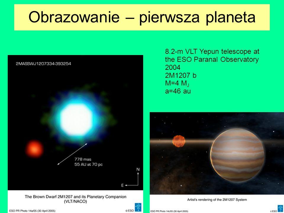 Obrazowanie – pierwsza planeta 8.2-m VLT Yepun telescope at the ESO Paranal Observatory 2004 2M1207 b M=4 M J a=46 au