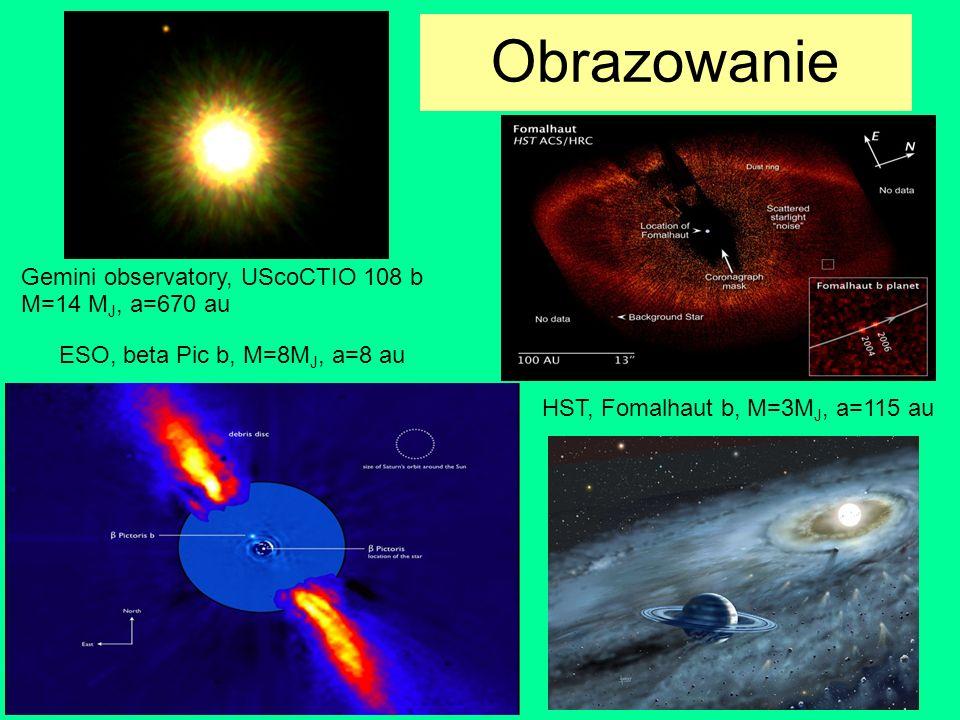 Obrazowanie Gemini observatory, UScoCTIO 108 b M=14 M J, a=670 au ESO, beta Pic b, M=8M J, a=8 au HST, Fomalhaut b, M=3M J, a=115 au