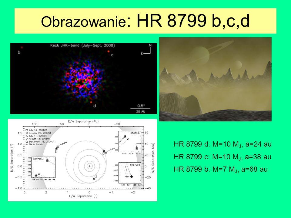 Obrazowanie : HR 8799 b,c,d HR 8799 d: M=10 M J, a=24 au HR 8799 c: M=10 M J, a=38 au HR 8799 b: M=7 M J, a=68 au