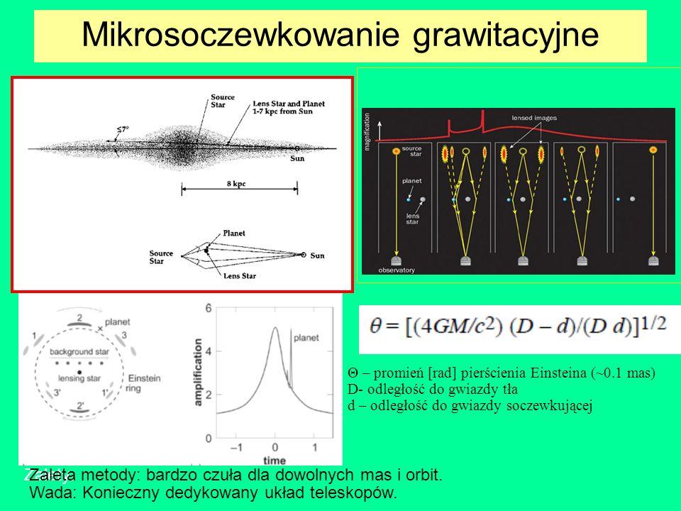 Mikrosoczewkowanie grawitacyjne Θ – promień [rad] pierścienia Einsteina (~0.1 mas) D- odległość do gwiazdy tła d – odległość do gwiazdy soczewkującej