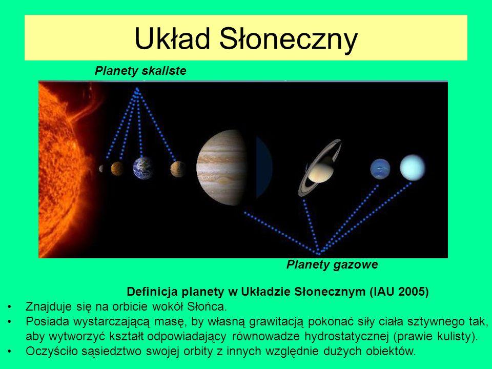 Układ Słoneczny Planety skaliste Planety gazowe Definicja planety w Układzie Słonecznym (IAU 2005) Znajduje się na orbicie wokół Słońca. Posiada wysta